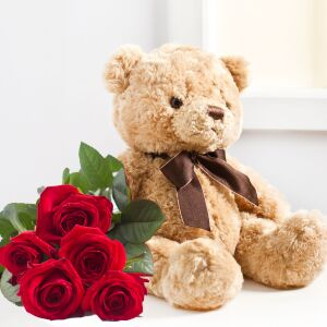 7 roses and teddy bear