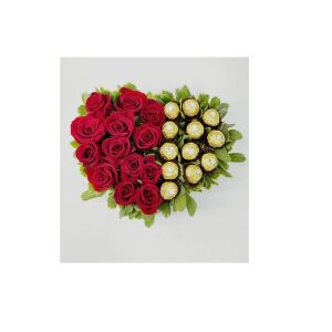 Heart with 13 roses & Ferrero's