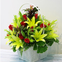 Red & Green Flowers in Basket