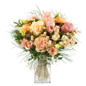 round bouquet of peach and cream flowers