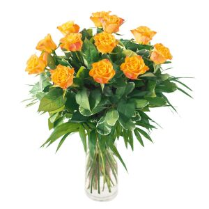 Bouquet of 12 medium stems orange roses